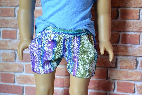 Rainbow Snakeskin Moto Pocket Shorts for 18 inch Dolls
