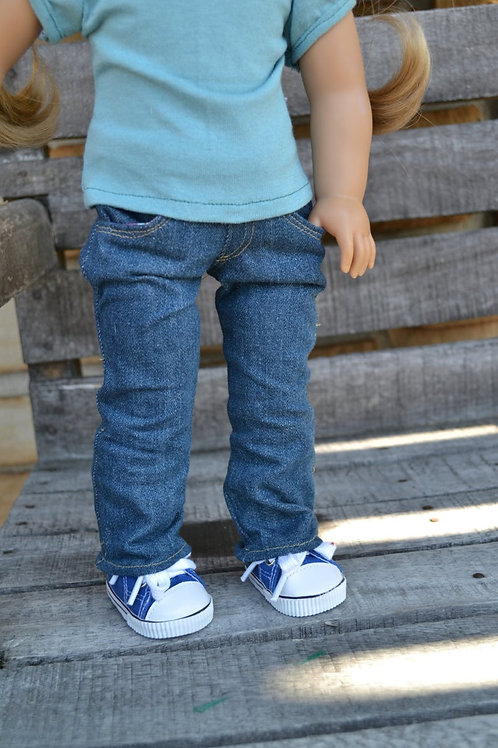 Medium Wash Straight Leg Jeans with real pockets for 18 inch Dolls