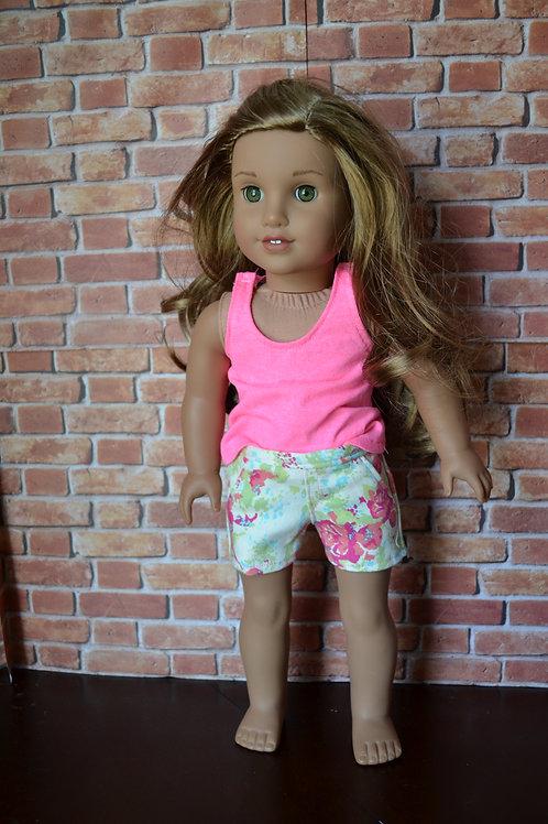 Floral Denim Moto Pocket Shorts for 18 inch Dolls