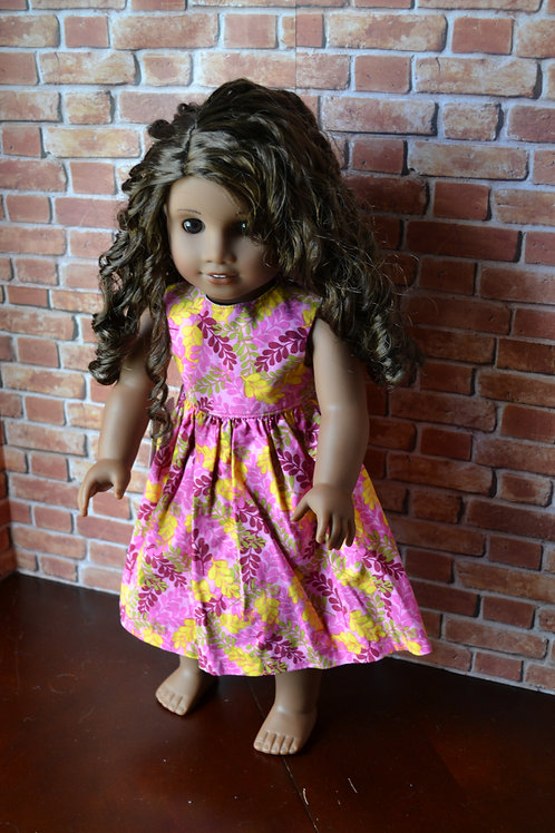 Pink Ferns Dress for 18 inch Dolls