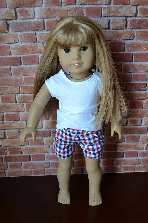 Americana Gingham Moto Pocket Shorts for 18 inch Dolls