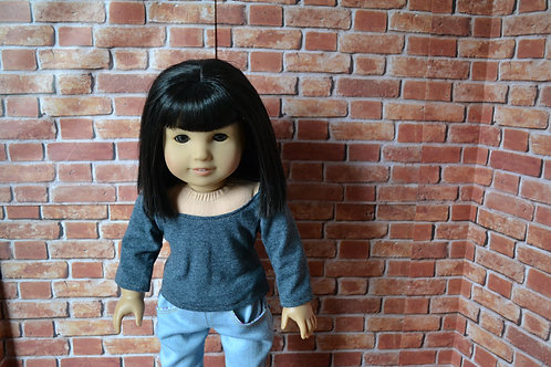 Slate Gray Scoop Neck Long Sleeve T-Shirt for 18 inch Doll