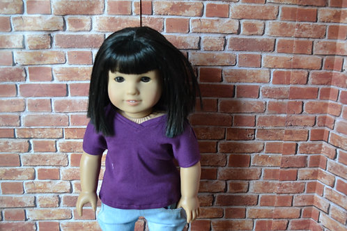 Eggplant Purple V-neck T-shirt for 18 inch Doll