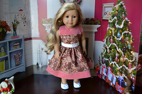 Gingerbread Sparkle Dress for 18 inch Dolls