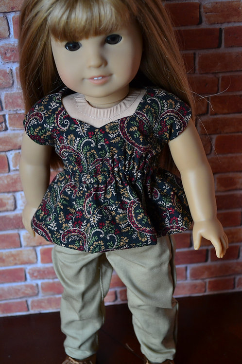Fall Vines Sweetheart Top for 18 inch Dolls