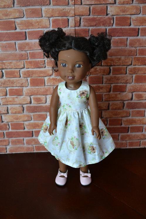 Vintage Bunnies Doll Dress for 14.5 inch Dolls