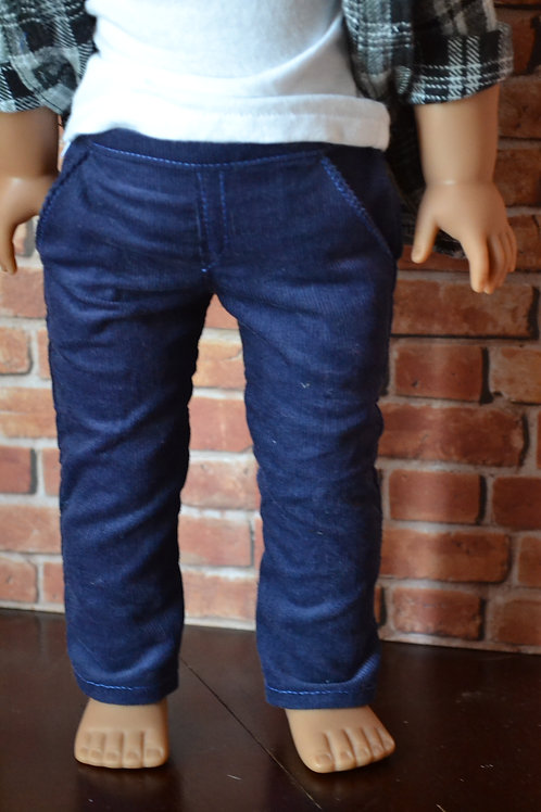Navy Blue Corduroy Chinos for 18 inch Dolls