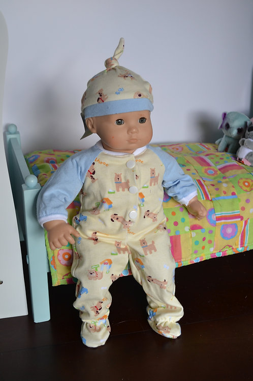 Puppy Dog Sleeper with Hat for Baby Dolls
