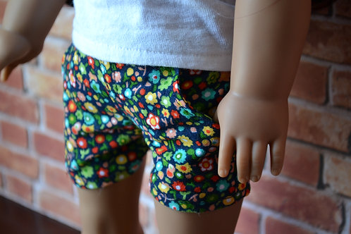 Navy Floral Moto Pocket Shorts for 18 inch Dolls