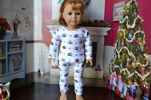 Christmas Hedgehog PJs/Pajamas for 18 inch Doll