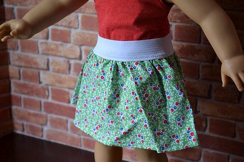Green Floral Elastic Skirt for 18 inch Dolls