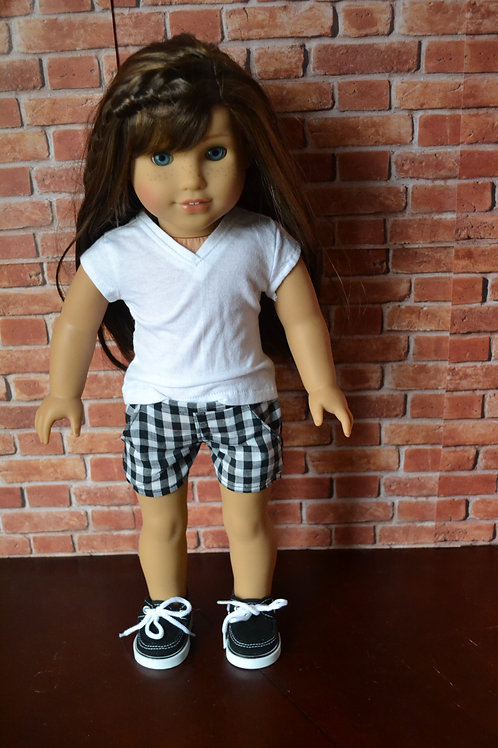 Black Gingham Moto Pocket Shorts for 18 inch Dolls