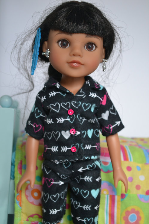 Arrow Hearts Pajamas for 14.5 inch Dolls