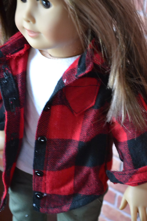 Red Buffalo Plaid Long Sleeved Flannel Button Down Shirt  for 18 inch Dolls