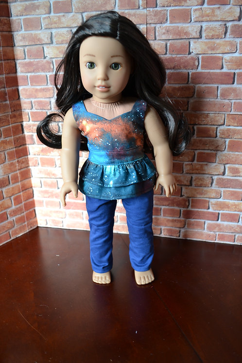 Funky Galaxy Peplum Top for 18 inch Dolls