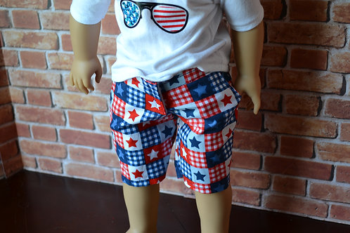 USA Stars Long Shorts for 18 inch Dolls