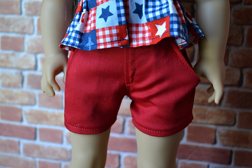 Red Moto Pocket Shorts for 18 inch Dolls