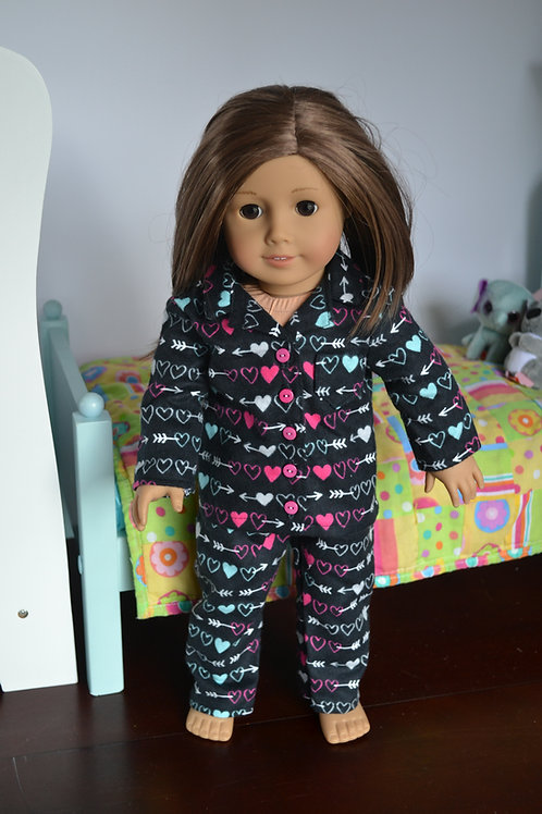 Arrow Hearts Pajamas for 18 inch Dolls
