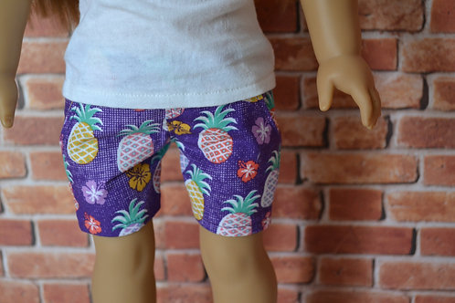 Hawaiian Pineapple Moto Pocket Shorts for 18 inch Dolls