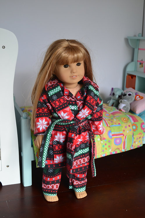 Holiday Argyle Robe for 18 inch Dolls