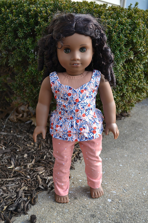 Peach Blooms Ruffle Peplum Top for 18 inch Dolls