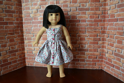 Floral Button Front Sundress Dress for 18 inch Dolls