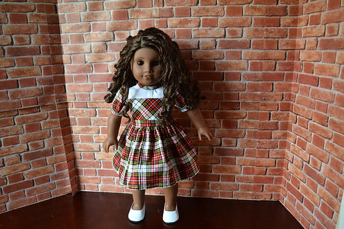 Red Plaid Tartan Holiday Dress for 18 inch Dolls