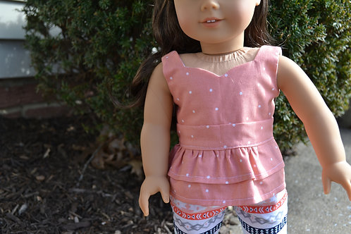 Peach Polka Dots Peplum Top for 18 inch Dolls