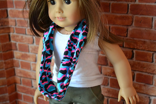 Funky Cheetah Print Infinity Doll Scarf for 18 inch Dolls