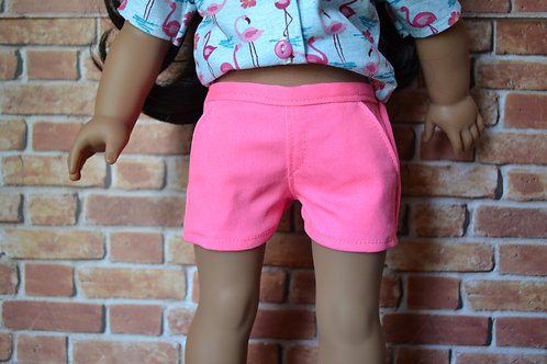 Neon Pink Moto Pocket Shorts for 18 inch Dolls