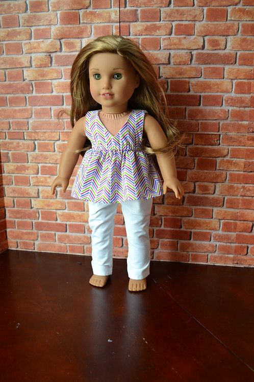 Broken Chevron Salina Top for 18 inch Dolls