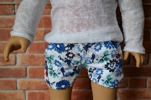 Watercolor Flowers Moto Pocket Shorts for 18 inch Dolls