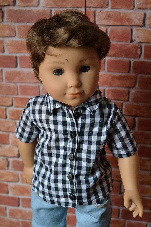 Black and White Gingham Buttondown Shirt for 18 inch Doll