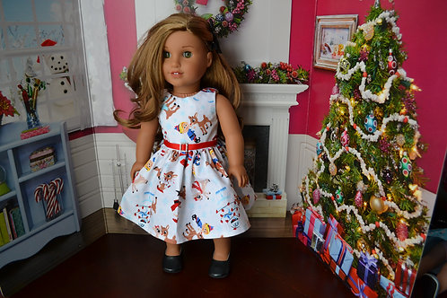 Reindeer Play - Holiday Dress for 18 inch Dolls