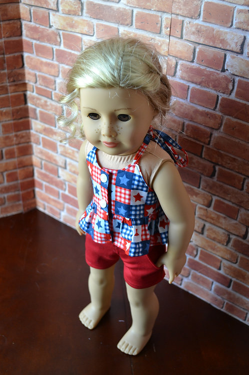USA Star Ruffle Tie-Back Top for 18 inch Dolls