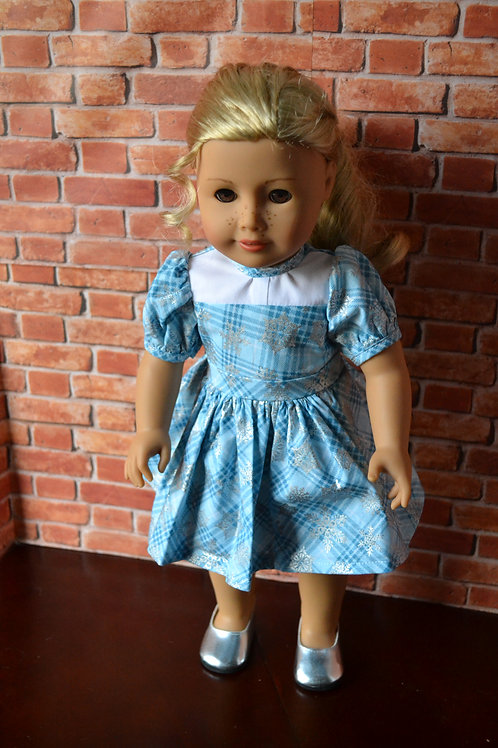 Snowflake Plaid Tartan Holiday Dress for 18 inch Dolls