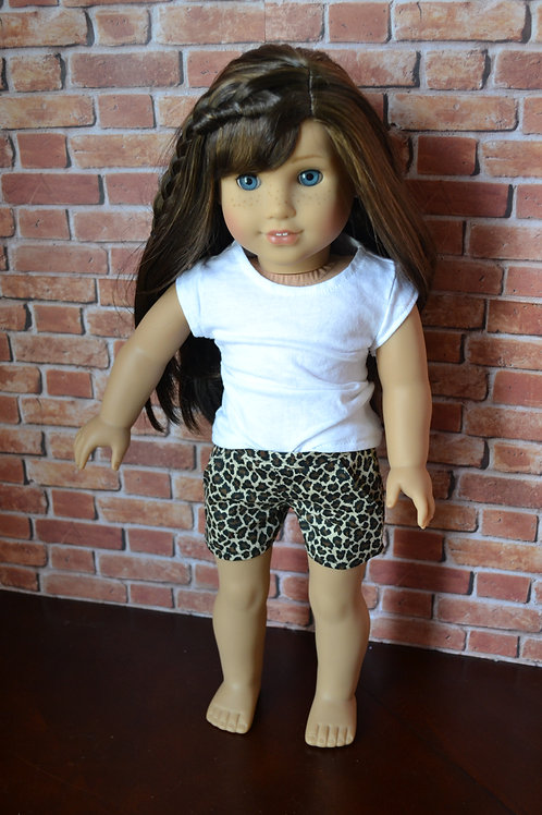 Leopard Print Moto Pocket Shorts for 18 inch Dolls