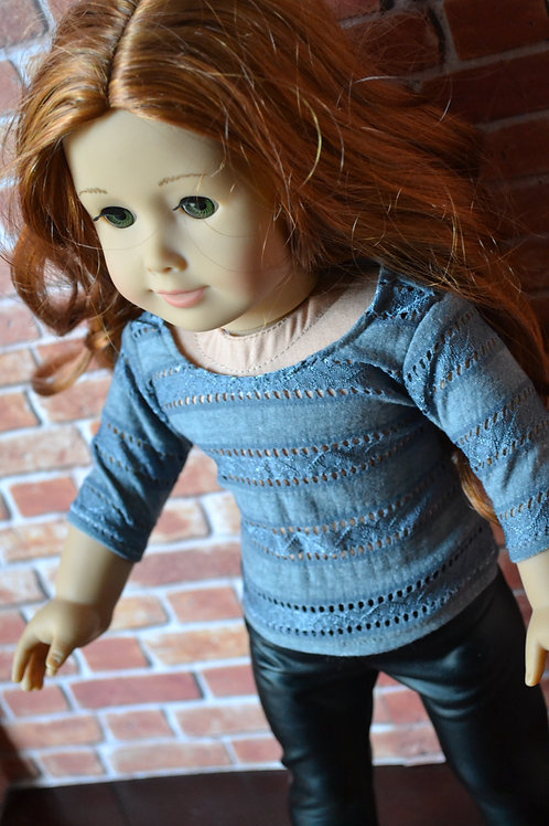 Gray Striped Lace 3/4 length Sleeve Doll T-shirt T-shirt for 18 inch Doll