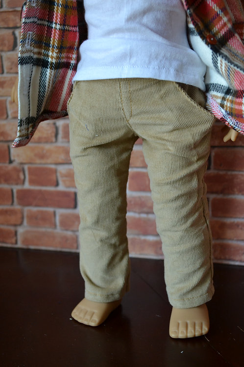 Khaki Corduroy Chinos for 18 inch Dolls