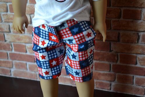 USA Stars Moto Pocket Shorts for 18 inch Dolls
