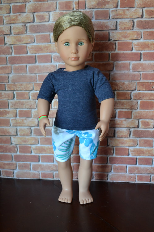 Coastal Hibiscus Bermuda Pocket Shorts for 18 inch Dolls