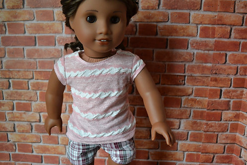 Light Pink Striped Capped Sleeve T-shirt for 18 inch Doll