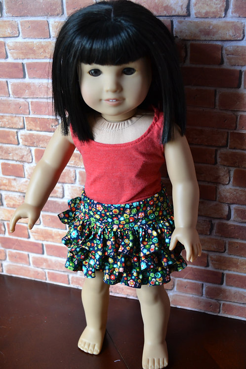 Navy Floral Flirty Skirt for 18 inch Dolls