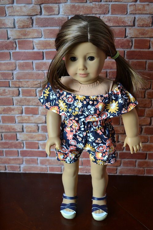 Floral Peasant Romper for 18 inch Dolls