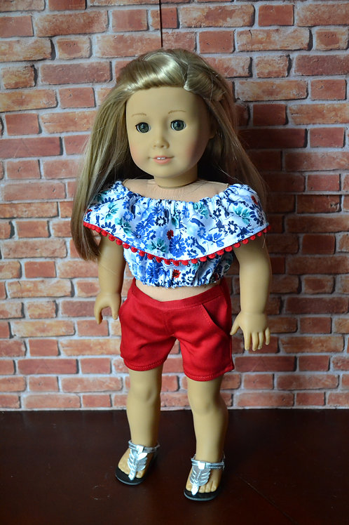 Watercolor Floral Fiesta Ruffle Doll Top  for 18 inch Doll