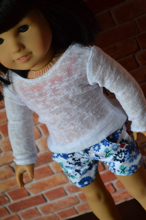Sheer White Sweater - Long Sleeve T-shirt for 18 inch Doll