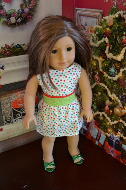 Christmas Polka Party Dress for 18 inch Dolls