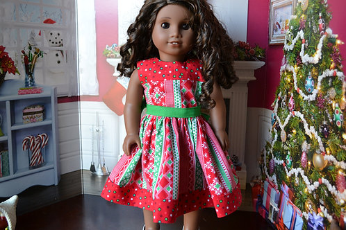 Christmas Colors Dress for 18 inch Dolls