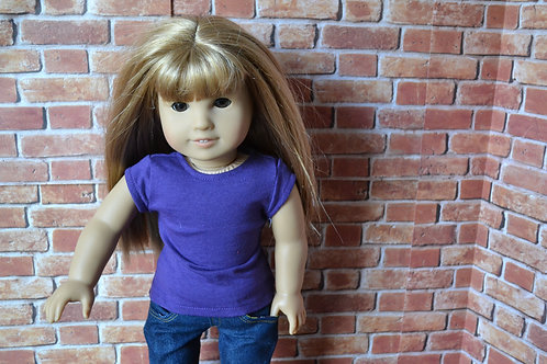 Purple Capped Sleeve T-Shirt for 18 inch Doll