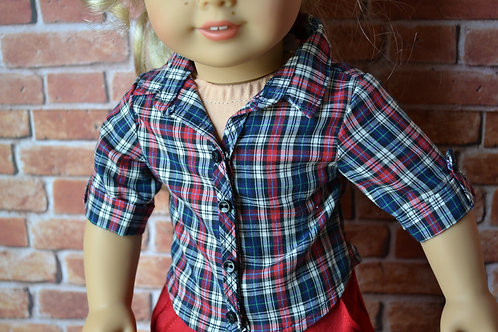 Americana Plaid Button Down Shirt for 18 inch Dolls
